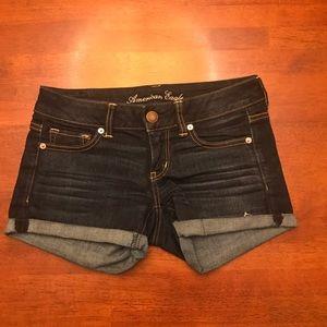 Dark-Wash American Eagle Denim Shorts
